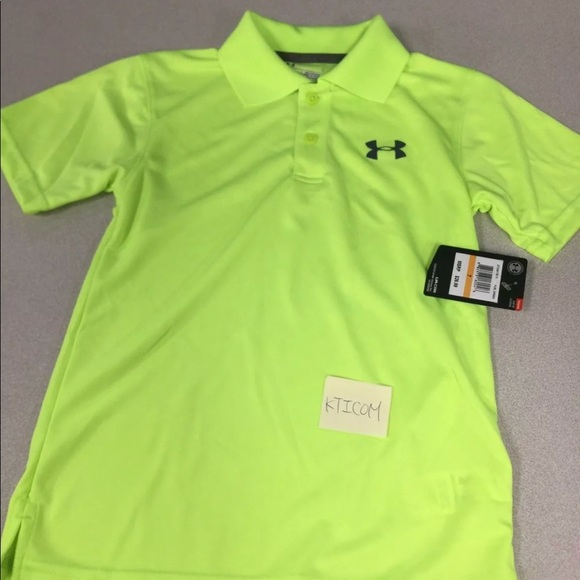 75414bf6 New Under Armour Boys polo shirt size:7 fuel green Boutique